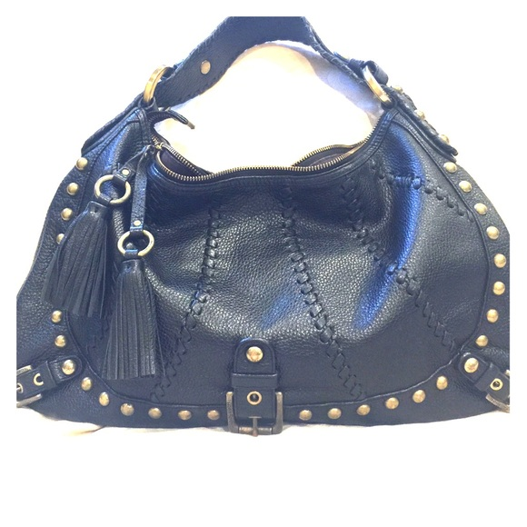 Isabella Fiore Handbags - Isabella Fiore Black Leather Hobo/Shoulder Bag